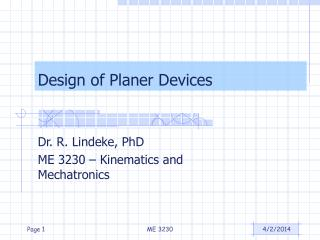 Design of Planer Devices