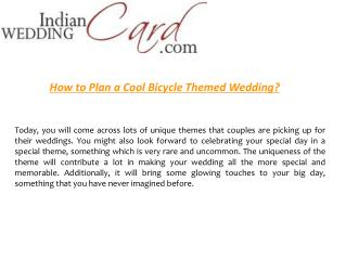 How to Plan a Cool Bicycle Themed Wedding