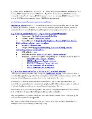 HQ Motion Assets Review-$9700 Bonus & 80% Discount
