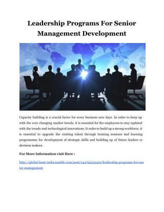 Leadership Programs For Senior Management Development