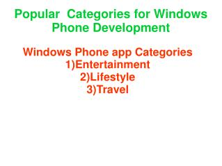categories for windows phone development