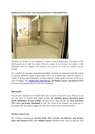 Elevator Cab Interiors New York