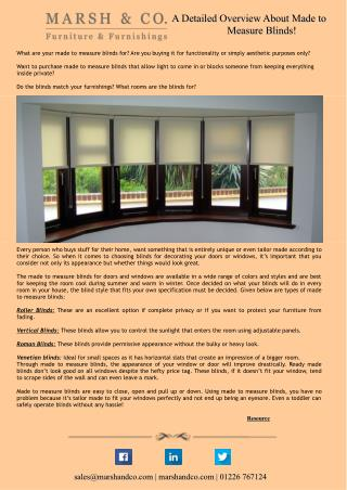 A Detailed Overview About Made to Measure Blinds