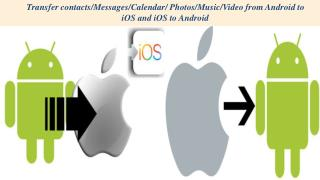 Transfer contacts/Messages/Calendar/ Photos/Music/Video from Android to iOS and iOS to Android