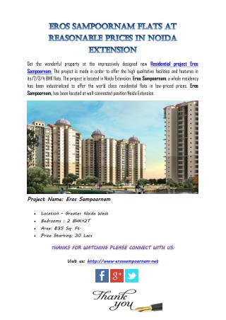 Eros Sampoornam Flats at Reasonable Prices in Noida Extension