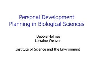 Personal Development Planning in Biological Sciences