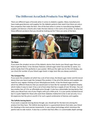 Diabetic Supplies - The Different AccuChek Products You Might Need