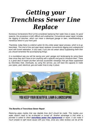Getting your Trenchless Sewer Line Replace