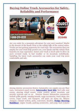 Buying Online Truck Accessories for Safety, Reliability and Performance