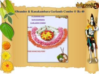 Oleander Garland with Kanakambaram Flower at Rs.40