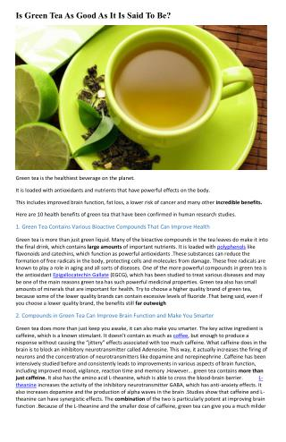 Is Green Tea As Good As It Is Said To Be?