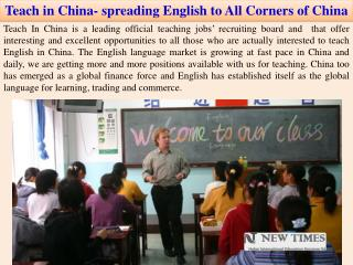 Teach in China- spreading English to All Corners of China