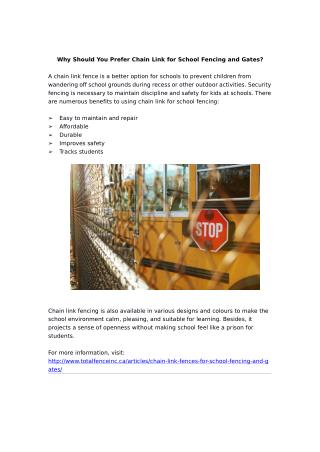 Why Should You Prefer Chain Link for School Fencing and Gates?