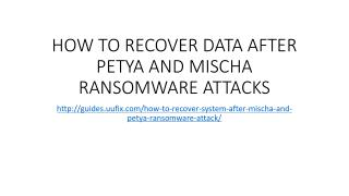 How to recover data after petya and mischa ransomware attacks