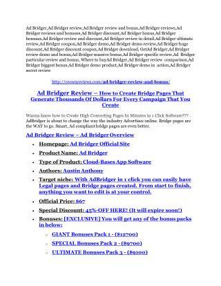 Ad Bridger review-$16,400 Bonuses & 70% Discount