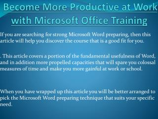 Become More Productive at Work with Microsoft Office Training