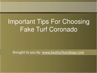 Important Tips For Choosing Fake Turf Coronado