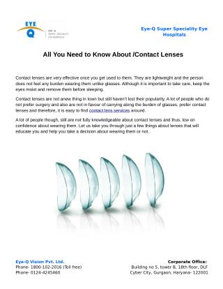 All You Need to Know About Contact Lenses