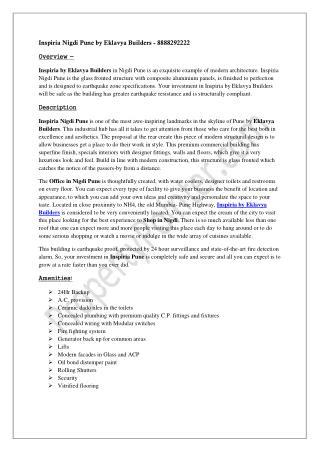 Inspiria Nigdi Pune by Eklavya Builders - 8888292222