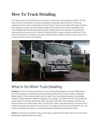 How to Truck Detailing