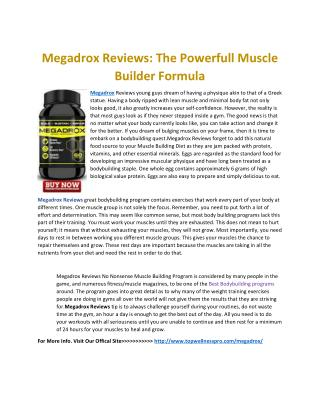 Megadrox Reviews: The Powerfull Muscle Builder Formula