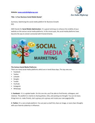 Social Media Optimization Companies in India