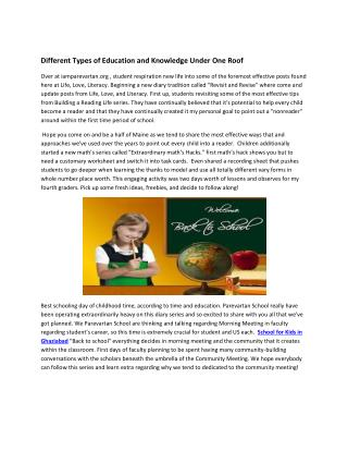 Different Types of Education and Knowledge Under One Roof