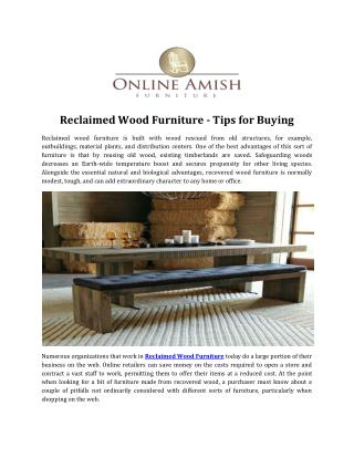 Reclaimed Wood Furniture - Tips for Buying
