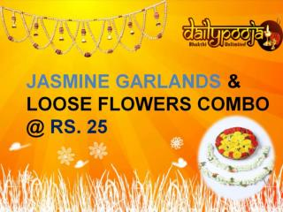Pooja Flowers Online - JASMINE GARLANDS & LOOSE FLOWERS COMBO @ RS. 25