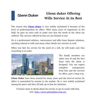 Glenn Duker Offering Wills Service At its Best