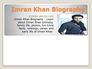 Imran Khan Biography | Biography Of Imran Khan