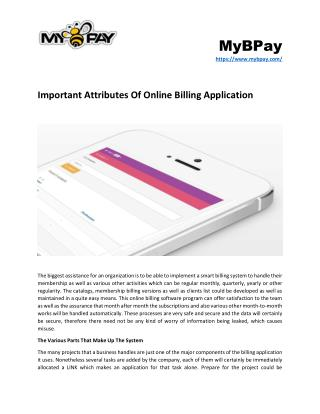 Important Attributes Of Online Billing Application