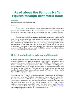 Read about the Famous Mafia Figures through Best Mafia Book
