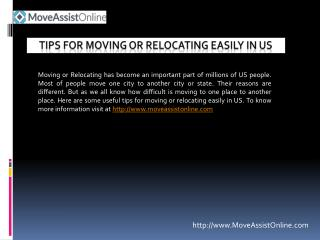 Move Easily in US With Useful Tips
