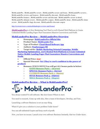 MobiLanderPro review-$26,800 bonus & discount