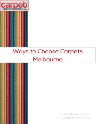 Ways to Choose Carpets Melbourne
