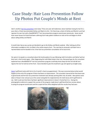 Case Study: Hair Loss Prevention Follow Up Photos Put Couple's Minds at Rest