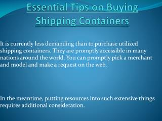 Essential Tips on Buying Shipping Containers