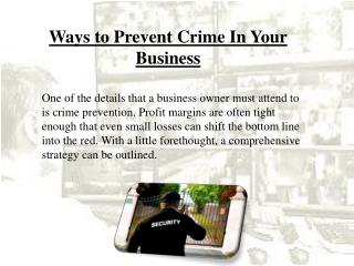 Ways to Prevent Crime In Your Business