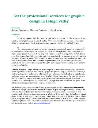 Get the professional services for graphic design in Lehigh Valley