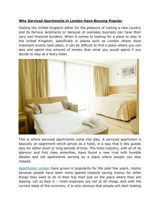 Why Serviced Apartments in London Have Become Popular