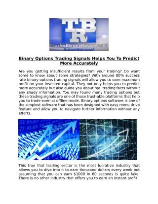 Binary Options Trading Signals Review 2016