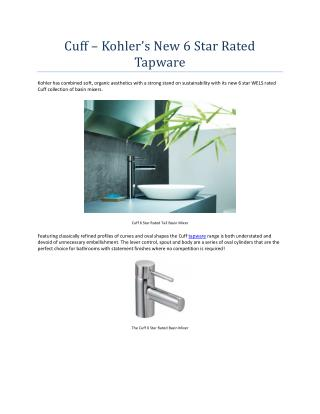 Cuff - Kohler's New 6 Star Rated Tapware