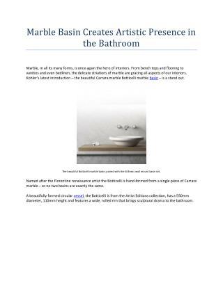 Marble Basin Creates Artistic Presence in the Bathroom