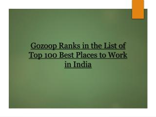 Gozoop Ranks in the List of Top 100 Best Places to Work in India