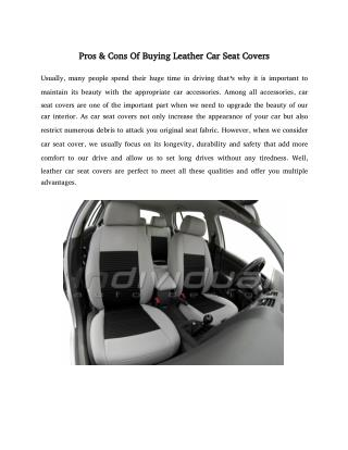 Pros Cons Of Buying Leather Car Seat Covers