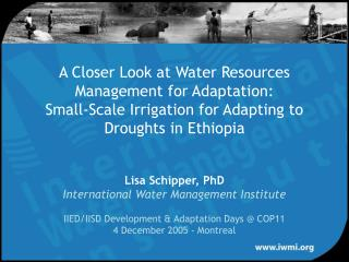A Closer Look at Water Resources Management for Adaptation:  Small-Scale Irrigation for Adapting to Droughts in Ethiopia