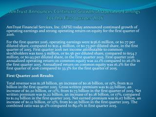 AmTrust Announces Continued Growth of Operated Earnings For The First Quarter 2016