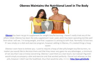 Loose Weight And Get Slim With Obenex