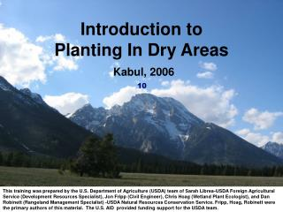 Introduction to  Planting In Dry Areas